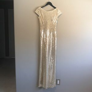 Light Gold Sequined Maxi Dress with Draped Back